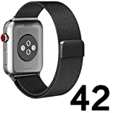 Watch Band 42mm Milanese Loop Mesh Strap for iWatch Bands 42mm Black