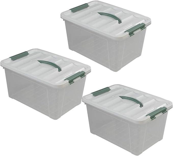 Tstorage Contenedor Cajas Caja Con Asa de Almacenamiento Grande de Plástico con Tapa, Transparente, 3 Unidades: Amazon.es: Hogar