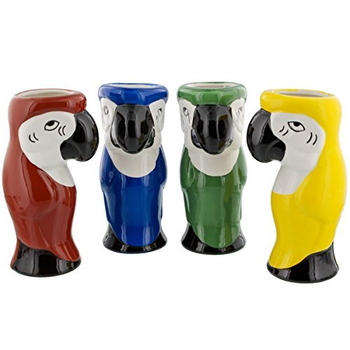 Large Parrot Mug - Parrot Ceramic Tiki Mugs - 16 oz - Set of 4 Assorted Colors