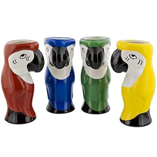 Parrot Ceramic Tiki Mugs - 16 oz - Set of 4 Assorted Colors - Parrot Large Mug