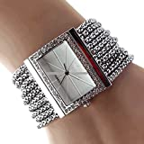 Sanwood New Fashion Quartz Women's Silver Tone Band Rhinestone Bangle Bracelet Watch