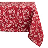 DII 100% Cotton, Machine Washable, Dinner and Holiday Tablecloth 60x120'', Holly Flourish, Seats 10 to 12 People