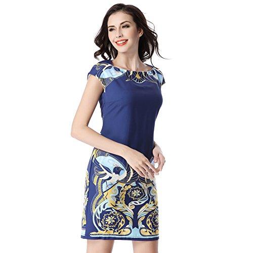 Glorria Women Elegant Colorful Print Slash Neck Short Cap Sleeve Dress Summer Casual Fashion Work Business Dresses