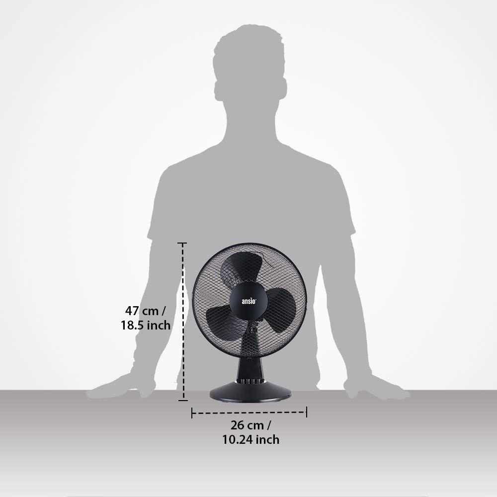 Ventilador de refrigeraci/ón Negro Ideal para el hogar y la Oficina *** Precio Promocional*** 2 a/ños de garant/ía ANSIO Ventilador oscilante port/átil de sobremesa de 9 Pulgadas con 2 velocidades
