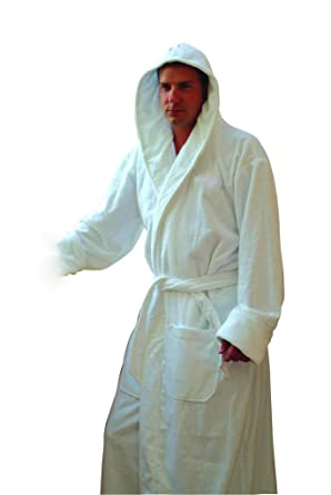 Image Unavailable. Image not available for. Color  Men s White Hooded Terry  Spa Bathrobe - 53 quot  Length 100% Cotton e16abf6e2