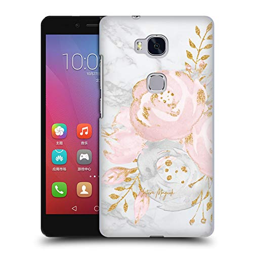 Official Nature Magick Pink Gold Roses 2 Pink Glitter Flowers On Marble Hard Back Case Compatible for Huawei Honor 5X / GR5
