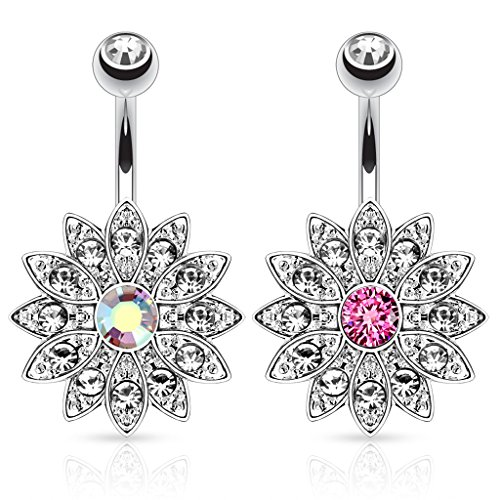 UNUStyle 2pcs Stainless Steel Paved Gems Flower with Center CZ Navel Ring