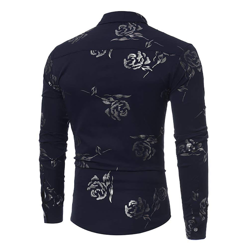 SANHION Mens Flower Paisley Long Sleeve Casual Button Down Dress Shirts