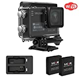 SJCAM SJ6 Legend 4K Wifi Action Camera Include Dual Charger+2 Extra Batteries- Dual Screen- 2.0 TouchScreen/ 0.9 Front LCD Screen 170 Degree Wide Angel Gyro Stabilization External Microphone Supported