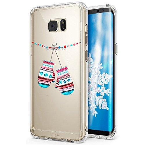 Funda Galaxy S6?SainCat Navidad copo de nieve serie Moda Alta Calidad suave de TPU Silicona Suave Funda Carcasa Caso Parachoques Diseño pintado Patrón paraSamsung Galaxy S6 [Serie de Navidad] TPU Sili Guantes