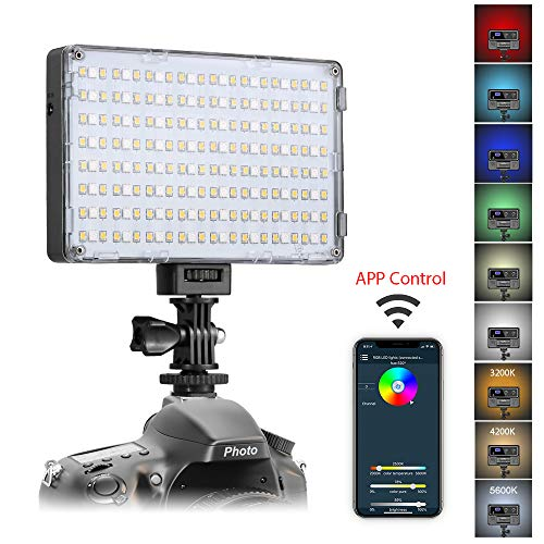 GVM RGB LED Camera Light Full Color Output Video Lights with APP Control CRI97 Dimmable 3200K-5600K Light Panel for YouTube DSLR Camera Camcorder Photo Lighting, with Battery, Filter, LCD Display