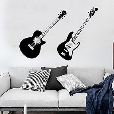 Pmhhc Etiqueta De La Pared Negro Doble Guitarra Dormitorio Sala ...