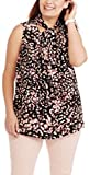 Masked Brand Ava & Viv Women's Plus Size Tie Front Sleeveless Blouse (Multi Animal Print, 1X)