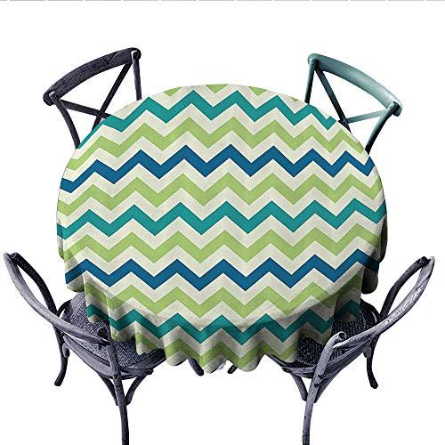 Chevron Decor Collection Circle Tablecloth Vintage Popular Zig Zag Chevron Pattern Classics Decorative Stripe Artful Image Flannel Tablecloth (Round, 70 Inch, Green Teal White) ()