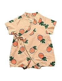 PAUBOLI Baby Kimono Romper Organic Cotton Fruit Printed Infant Boys Girls Pajamas