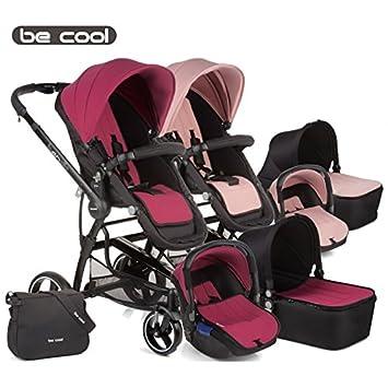 Be Cool - Coche de paseo trío bandit 3 cocoon malva/rosa/negro: Amazon.es: Bebé