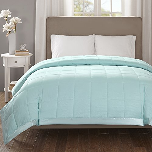 Madison Park Down Alternative Blanket Hypoallergenic 3M Scotchgard Stain Resistant Bedroom Bedding, Oversized Full/Queen, Cambria Aqua