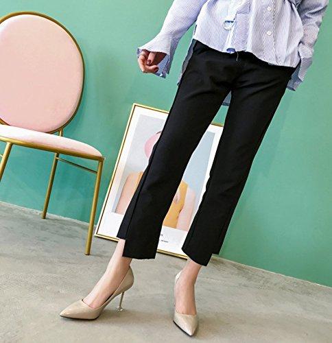 Ajunr Moda calzado mujer puerto Luz Gris Elegante Wild 9cm los zapatos de tacón alto solo zapatos 39 Ocasional elegante,Transpirable,Sandalias Mujer 38