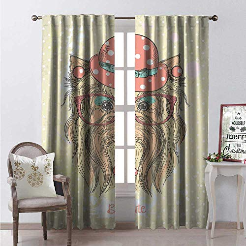 Hengshu Yorkie Room Darkening Wide Curtains Be Cute Portrait of an Adorable Dog Earrings Necklace Glasses Hat Makeup Waterproof Window Curtain W84 x L84 Light Brown Coral