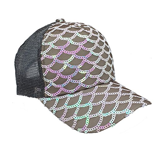 [Maticr Unisex Bling Mermaid Scales Sequin Sun Caps Party Hats Adjustable Mesh Baseball Hat (Brown)] (Scale Baseball)