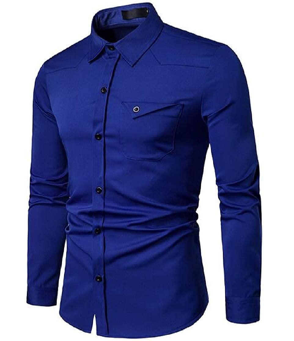 KLJR Men Leisure Solid Business Long Sleeve Fitted Button-Front Shirts