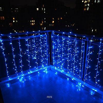 FefeLightupTM BLUE Led Party Lights 9.8ft*9.8ft 304 LEDs Lights Decorating Holiday Wedding Curtain Lights Icicle String Lights