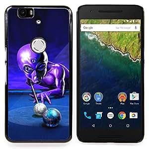 "Qstar Arte & diseño plástico duro Fundas Cover Cubre Hard Case Cover para Huawei Google Nexus 6P (Ufo Billar Extranjero control Gris Universo"")"