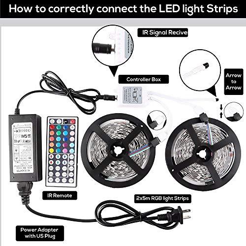 OneBridge Led Strip Lights 32.8ft 10m with 44 Keys IR Remote and 12V Power Supply Flexible Color Changing 5050 RGB 300 LEDs Light Strips Kit for Home, Bedroom, Kitchen,DIY Decoration