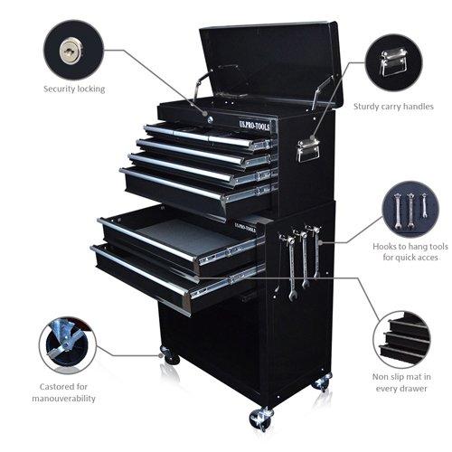 Rangement à outils à roulettes US Pro Tools - Avec séparateurs de tiroirs - Noir brillant US.PRO-TOOLS
