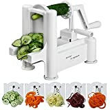 5 Blade Spiralizer – Spiral Slicer, Vegetable Maker, Shredder ! Makes Zucchini Noodles, Veggie Spaghetti, Pasta, and Cut Vegetables in Minutes. Includes Blade Storage Box!