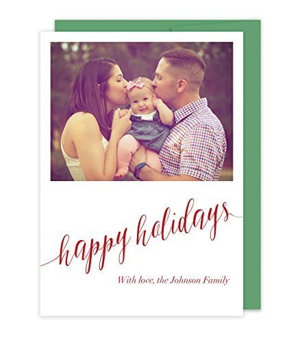 Photo Letterpress Christmas Cards - Happy Holidays by Tea and Becky