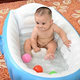 Image of Baabyoo Inflatable Safety Bathtub Baby Swimming Pool Portable Air Bathtub Infant Foldable Bathing Tubs and Seats (Blue)