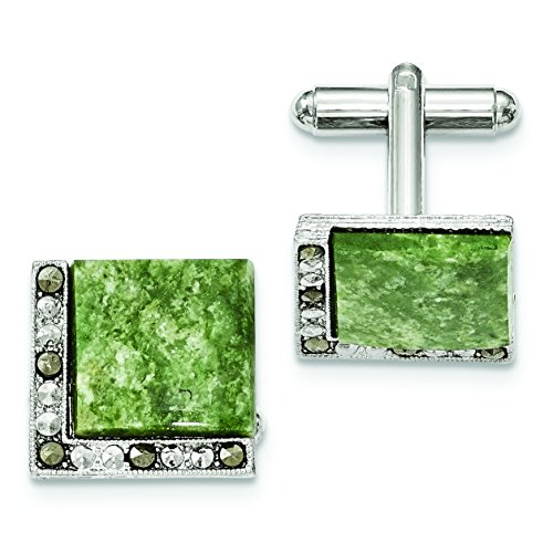 Diamond2Deal Silver-Tone Green Jade & Marcasite Cuff Links