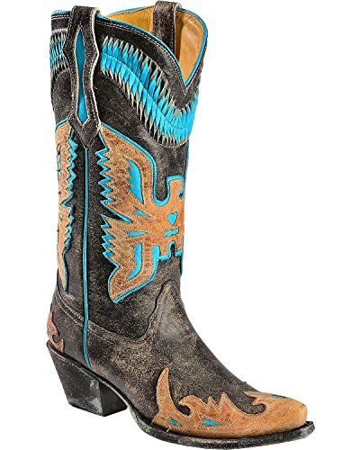 CORRAL Women's Antique Saddle/Turquoise Eagle Overlay Snip Toe Cowgirl Boots R2289 (8.5 B(M) US)
