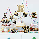 Blulu Birthday Party Decoration Set Golden Birthday Party Centerpiece Sticks Glitter Table Toppers Party Supplies, 24 Pieces