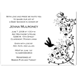 Modern Hummingbird on White Baby Shower Invitations...