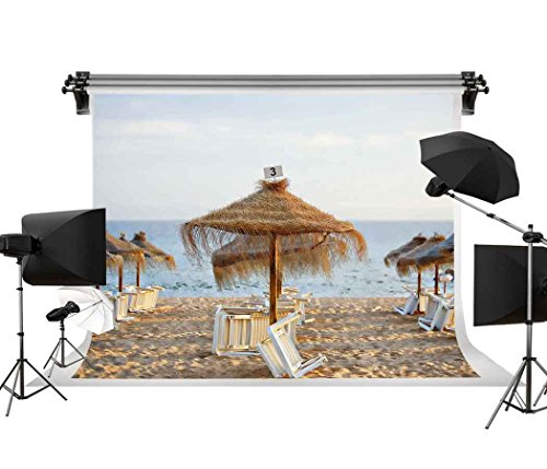 GESEN 10X7ft Seaside Scenery Backdrop Fresh Beach Gazebo Photography Backgdrop for Pictures Wedding Theme Party Background You Tube Backdrop GORGE278