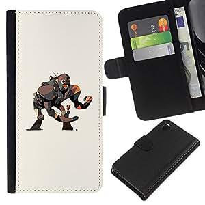 ZCell / Sony Xperia Z3 D6603 / Monkey Gorilla Big Movie Art Girl Drawing / Caso Shell Armor Funda Case Cover Wallet / Mono gorila Big Pelí
