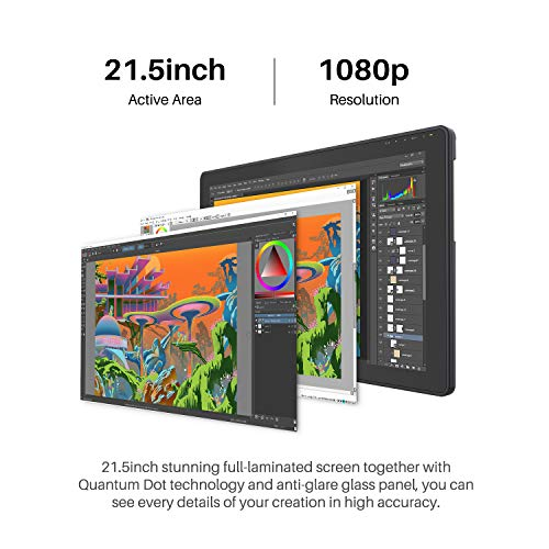 2020 HUION KAMVAS 22 Plus Graphics Drawing Tablet with Full-Laminated QD LCD Screen 140% s RGB Android Support Battery-Free Stylus 8192 Pen Pressure Tilt Adjustable Stand - 21.5inch