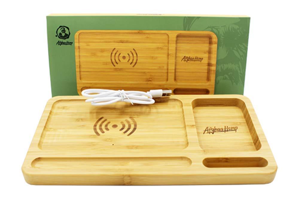 Afghan Hemp Bamboo Rolling Tray w//Wireless Phone Charging Pad 10 x 6