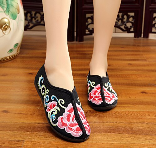 Black soft leisure flat bottom Women and embroidered shoes 0wqgR