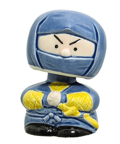Japanese Bobble Head Collection Nodding Head Spring Action Figurines Car Dashboard, Blue Ninja