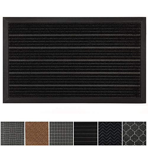 Outdoor Doors - GRIP MASTER Durable, Tough All-Natural Rubber Doormats (29x17 Size) Waterproof Commercial High Traffic Indoor Outdoor Door Mat, Boots Scraper Mats, Entryway, Low-Profile, Easy Clean (Black Lines)