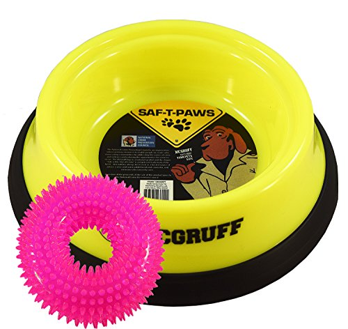 saf-t-paws-mcgruff-large-neon-yellow-dog-food-bowl-bundle-with-neon-pink-squeaky-spikey-ring-chew-to