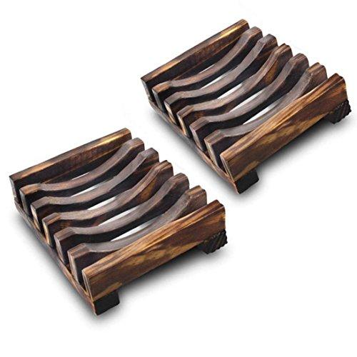 Lisin 2 Piece Bathroom Wooden Soap Case Holder, Sink Deck Bathtub Shower Dish Rectangular Hand Craft Natural Wooden Holder for Sponges, Scrubber ()