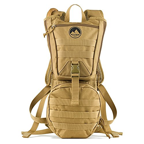 Tactical Hydration Pack, Ridge Recon Water Backpack 900D with 3 Liter BPA Free Leak Proof Wide Mouth Bladder & Bite Tip for Camping, Running, Hiking & Cycling, Adjustable Molle (Ridge Water)