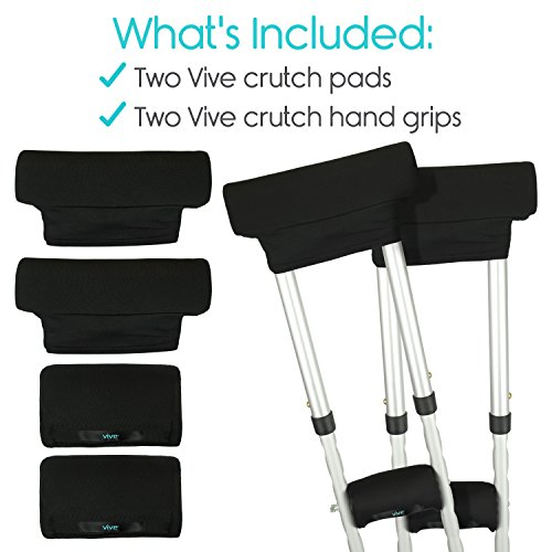 Crutch Pads by Vive (2 Armpit, 2 Hand Cushion) - Padding for Walking Crutches - Underarm & Handle Pillow Covers for Hand & Armpit - Soft & Comfortable Mobility Accessories (Black) by VIVE (Image #4)