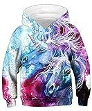 KIDVOVOU Girls Rainbow Unicorn Print Hoodie Pullovers Sweatshirts for Kids Birthday Party,9-11 Years