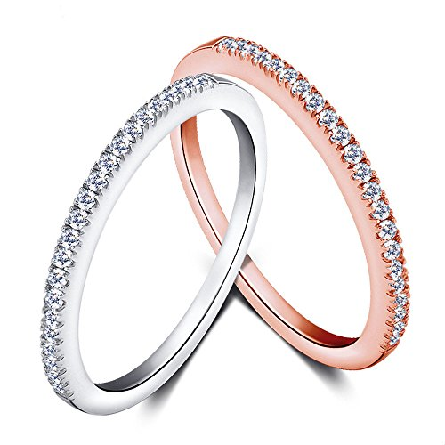 Eternity Love Women's Wedding Band Stackable Ring Round Brilliant Cubic Zirconia Rose White Gold Plated Engagement Promise Anniversary Ring, JPR005-11(25#) Etoile Band