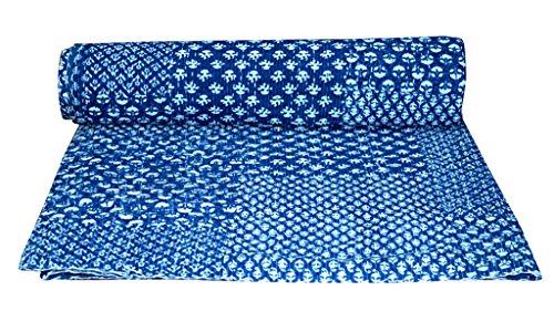 V Vedant Designs Indian Cotton Kantha Quilt Throw Blanket Bedspread Vintage Throw Gudari Cotton Handmade Kantha Quilt (Indigo Patch)